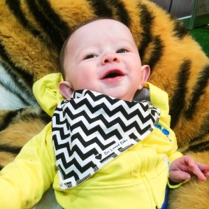 Baby cuddling up to large tiger toy